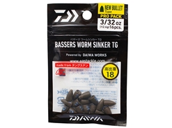 Daiwa - Bassers Worm Sinker TG New Bullet Pro Pack 2.6g - 3/32oz (16pcs) | Eastackle