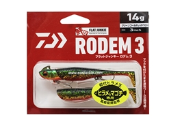 Daiwa - Flat Junkie Rodem 3 - GREEN GOLD RED BELLY - 14g - Soft Plastic Swim Bait | Eastackle