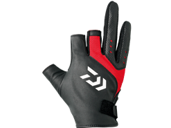 Daiwa - Leather Three Finger Cut Gloves - DG-2007 - BLACK x RED - M Size | Eastackle