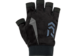 Daiwa - Nano-Front Padded Five Finger Cut Gloves - DG-61008 - BLACK - L SIZE | Eastackle