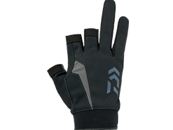 Daiwa - Nano-Front Padded Three Finger Cut Gloves - DG-60008 - BLACK - L SIZE | Eastackle