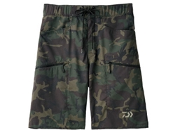 Daiwa - Water Repellent Dry Half Shorts - DP-8606 - GREEN CAMO - MEN'S 3XL SIZE | Eastackle