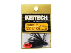 Keitech - Guard Spin Jig - BLACK 001 (5/32oz) - Tungsten Skirted Jig Head | Eastackle