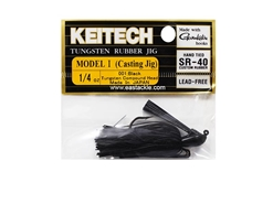 Keitech - Tungsten Rubber Jig - MODEL I - BLACK 001 (1/4oz) - Skirted Jig Heads | Eastackle
