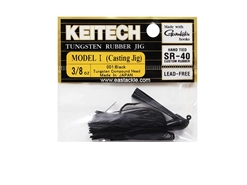 Keitech - Tungsten Rubber Jig - MODEL I - BLACK 001 (3/8oz) - Skirted Jig Heads | Eastackle