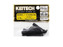 Keitech - Tungsten Rubber Jig - MODEL I - BLACK 001 (5/16oz) - Skirted Jig Heads | Eastackle