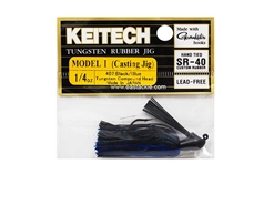 Keitech - Tungsten Rubber Jig - MODEL I - BLACK BLUE 407 (1/4oz) - Skirted Jig Heads | Eastackle