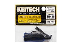 Keitech - Tungsten Rubber Jig - MODEL I - BLACK BLUE 407 (3/8oz) - Skirted Jig Heads | Eastackle