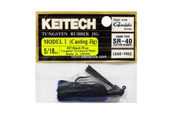 Keitech - Tungsten Rubber Jig - MODEL I - BLACK BLUE 407 (5/16oz) - Skirted Jig Heads | Eastackle