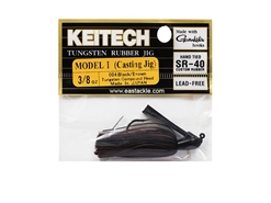 Keitech - Tungsten Rubber Jig - MODEL I - BLACK BROWN 004 (3/8oz) - Skirted Jig Heads | Eastackle