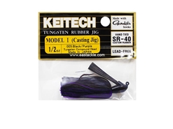Keitech - Tungsten Rubber Jig - MODEL I - BLACK PURPLE 005 (1/2oz) - Skirted Jig Heads | Eastackle
