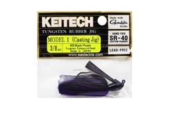 Keitech - Tungsten Rubber Jig - MODEL I - BLACK PURPLE 005 (3/8oz) - Skirted Jig Heads | Eastackle