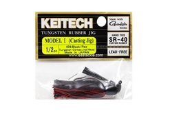 Keitech - Tungsten Rubber Jig - MODEL I - BLACK RED 408 (1/2oz) - Skirted Jig Heads | Eastackle