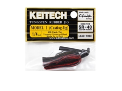 Keitech - Tungsten Rubber Jig - MODEL I - BLACK RED 408 (1/4oz) - Skirted Jig Heads | Eastackle