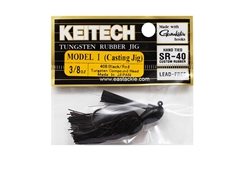 Keitech - Tungsten Rubber Jig - MODEL I - BLACK RED 408 (3/8oz) - Skirted Jig Heads | Eastackle
