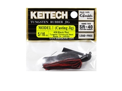 Keitech - Tungsten Rubber Jig - MODEL I - BLACK RED 408 (5/16oz) - Skirted Jig Heads | Eastackle