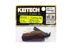 Keitech - Tungsten Rubber Jig - MODEL I - BROW PURPLE 008 (5/16oz) - Skirted Jig Heads | Eastackle