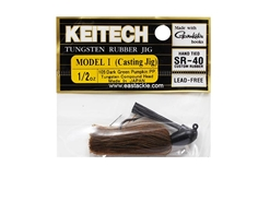 Keitech - Tungsten Rubber Jig - MODEL I - DARK GREEN PUMPKIN PP 105 (1/2oz) - Skirted Jig Heads | Eastackle