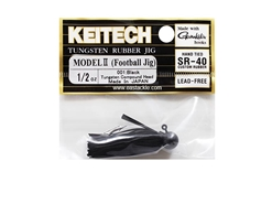 Keitech - Tungsten Rubber Jig - MODEL II - BLACK 001 (1/2oz) - Skirted Jig Head | Eastackle