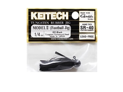 Keitech - Tungsten Rubber Jig - MODEL II - BLACK 001 (1/4oz) - Skirted Jig Head | Eastackle