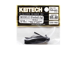 Keitech - Tungsten Rubber Jig - MODEL II - BLACK 001 (5/16oz) - Skirted Jig Head | Eastackle