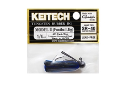 Keitech - Tungsten Rubber Jig - MODEL II - BLACK BLUE 407 (1/4oz) - Skirted Jig Head | Eastackle