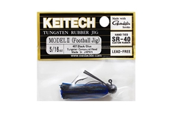 Keitech - Tungsten Rubber Jig - MODEL II - BLACK BLUE 407 (5/16oz) - Skirted Jig Head | Eastackle