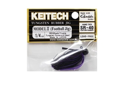 Keitech - Tungsten Rubber Jig - MODEL II - BLACK PURPLE 005 (1/4oz) - Skirted Jig Head | Eastackle