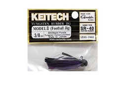 Keitech - Tungsten Rubber Jig - MODEL II - BLACK PURPLE 005 (3/8oz) - Skirted Jig Head | Eastackle
