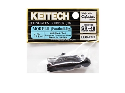 Keitech - Tungsten Rubber Jig - MODEL II - BLACK RED 408 (1/2oz) - Skirted Jig Head | Eastackle