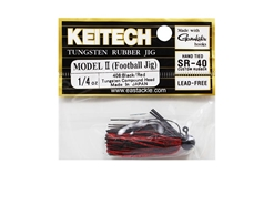 Keitech - Tungsten Rubber Jig - MODEL II - BLACK RED 408 (1/4oz) - Skirted Jig Head | Eastackle