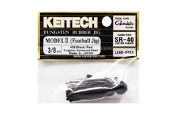 Keitech - Tungsten Rubber Jig - MODEL II - BLACK RED 408 (3/8oz) - Skirted Jig Head | Eastackle