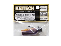 Keitech - Tungsten Rubber Jig - MODEL II - BROWN PURPLE 008 (1/2oz) - Skirted Jig Head | Eastackle