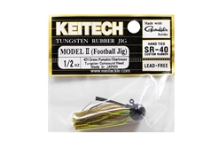 Keitech - Tungsten Rubber Jig - MODEL II - GREEN PUMPKIN CHARTREUSE 401 (1/2oz) - Skirted Jig Head | Eastackle