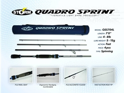 Storm - 2019 Quadro Sprint - QSS704L - Travel Spinning Rod | Eastackle