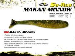 "Storm - So-Run Makan Minnow 4"" - GOLDEN SHINER - Soft Plastic Swim Bait 
