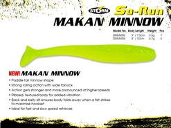 "Storm - So-Run Makan Minnow 4"" - LIME CHARTREUSE - Soft Plastic Swim Bait 