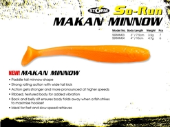 "Storm - So-Run Makan Minnow 4"" - SUNSET ORANGE - Soft Plastic Swim Bait 