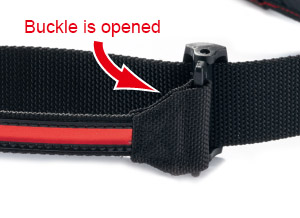 How to adjust swing belt - Step 2 - 2. Lift the slide buckle and open it.