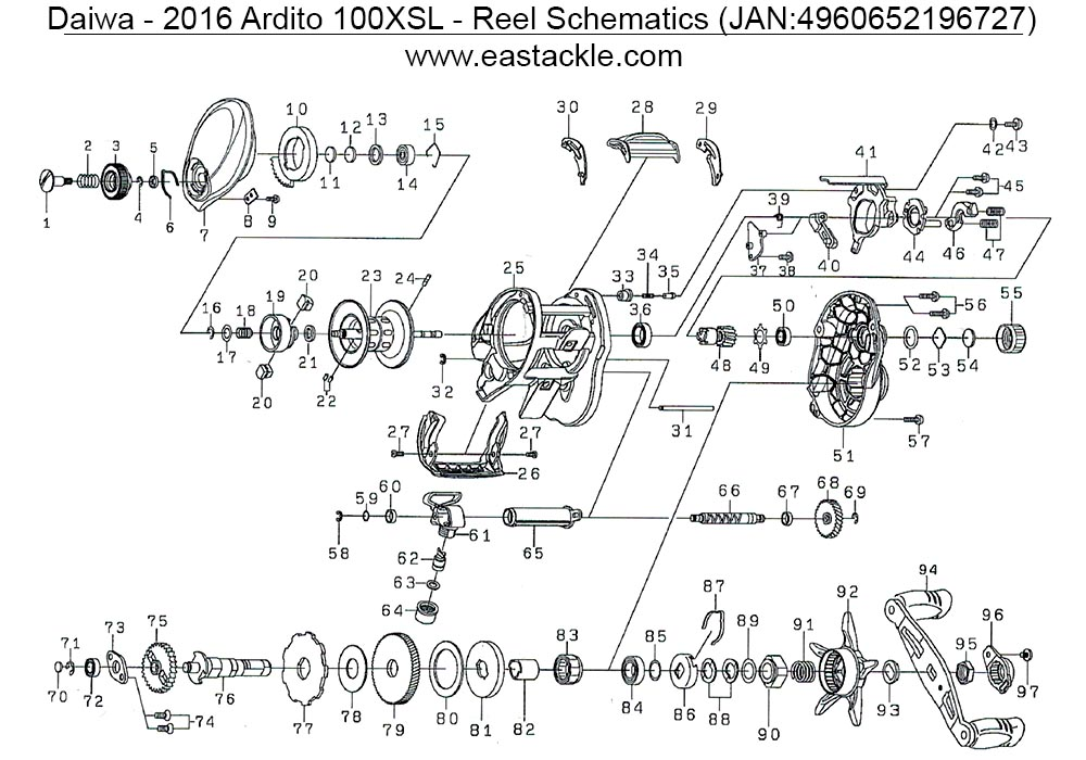 Daiwa - 2016 Ardito XSL - Bait Casting Reel - Schematics and Parts (18 Aug 2017)