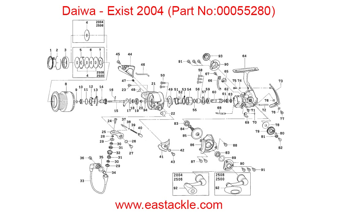 Daiwa Exist 2004 Spinning Reel Schematics And Part Numbers