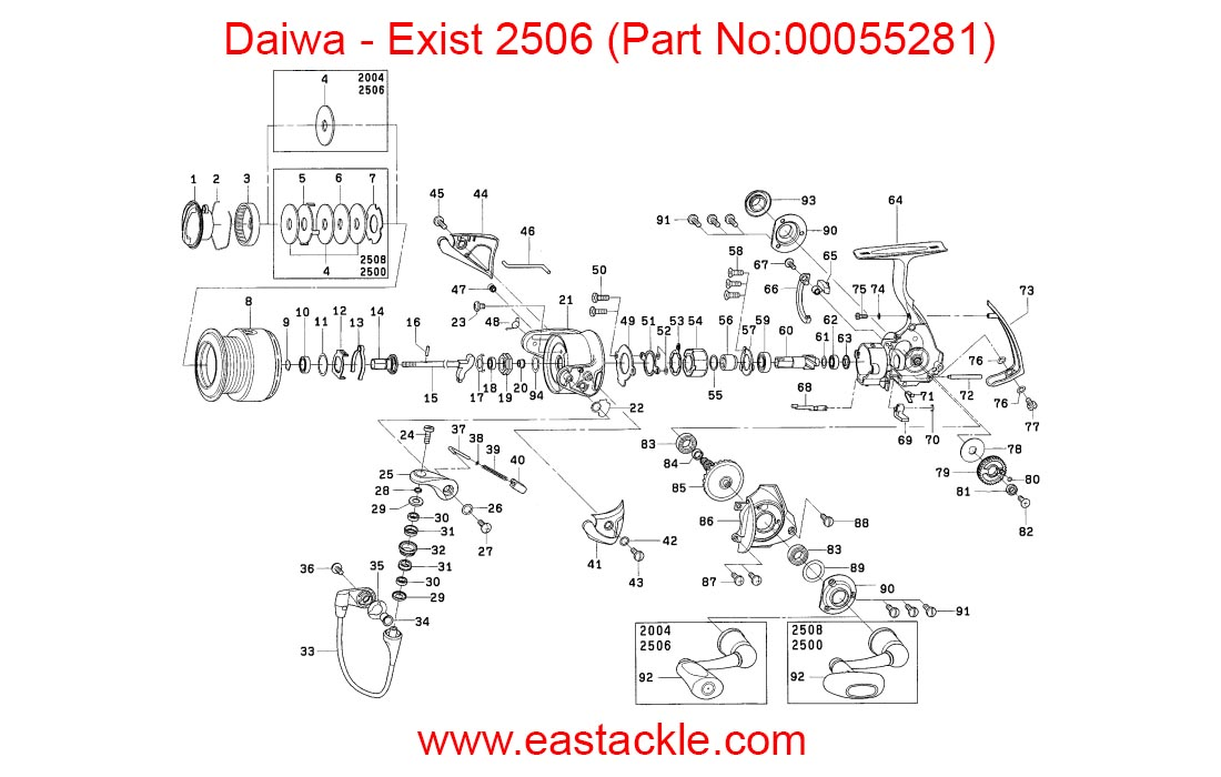 Daiwa - Exist 2506 | Spinning Reel | Schematics and Part ... on