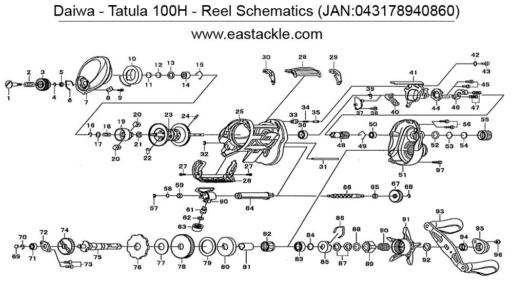 Eastackle - Daiwa - Tatula 100H - Bait Casting Reel - Schematics and