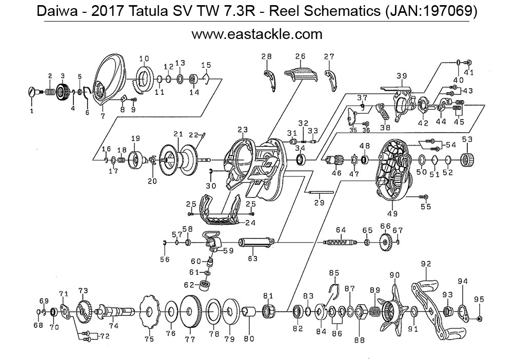 Daiwa 2017 Tatula SV TW 7.3R Bait Casting Reel Schematics (1000 1) (14 Jul 2017) daiwa tatula sv tw 7 3r right handed bait casting fishing sv diagrams at n-0.co